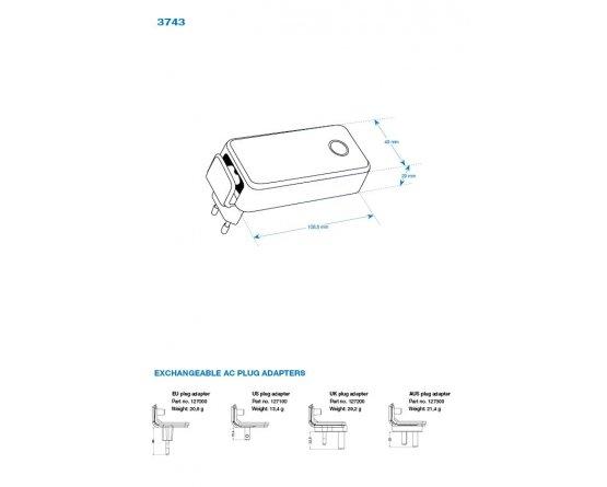 Bly lader 12V/1Ah 90-264VAC plug-in model