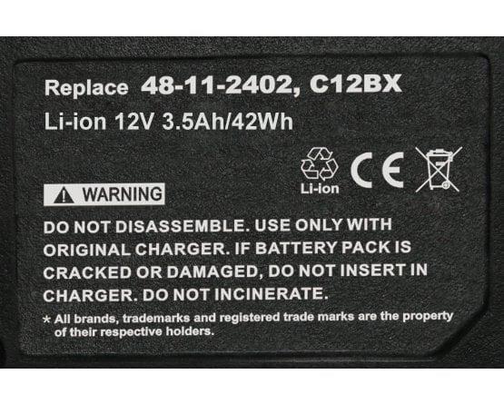 Milwaukee 2330 batteri 48-11-2401 12v/3,5Ah Li-Ion