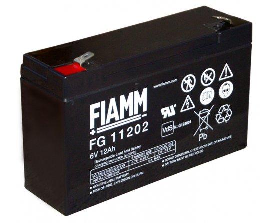 6V/12Ah FIAMM 5 års Blybatteri FG11202