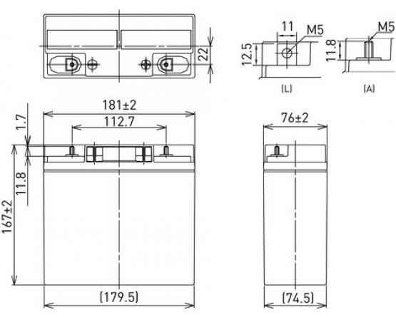 12V/22Ah Panasonic Blybatteri cycle LC-XC1222P