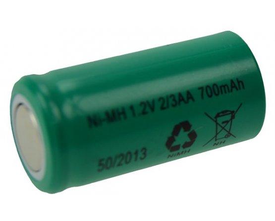 2/3AA Ni-MH genopladeligt akku batteri Flad Top