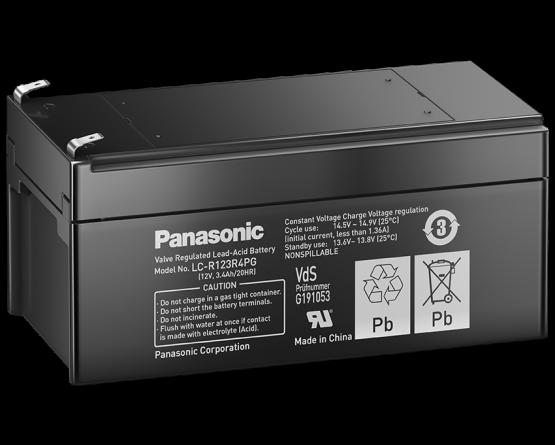 12V/3.4Ah Panasonic Blybatteri 6-9år LC-R123R4P