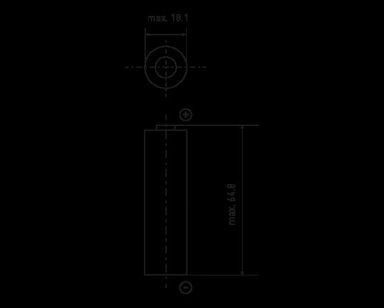 Cylindrisk Li-Ion Panasonic batteri UR18650AA