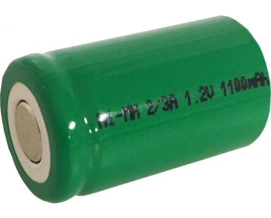 2/3A Ni-MH akku genopladeligt batteri Flad top