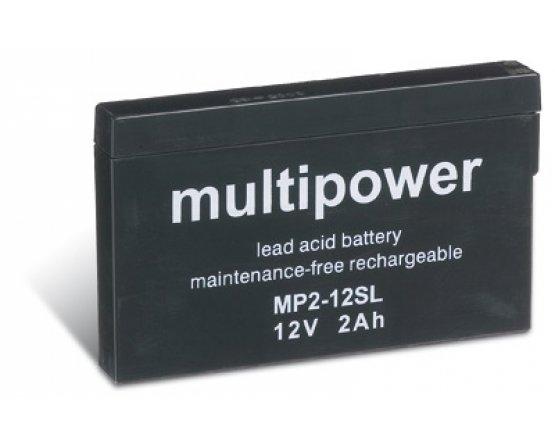 12V/2A Blybatteri Multipower Slimline