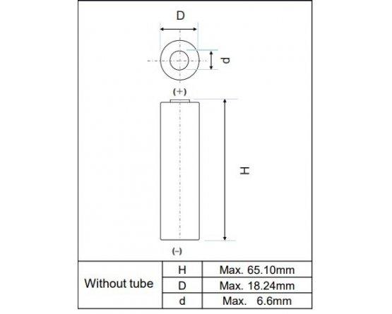 Genopladeligt Li-ion NCR-18650BF ren celle m/fuse