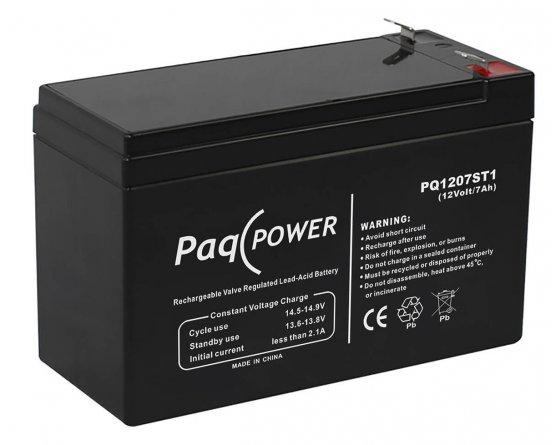 12V/7Ah PaqPOWER Blybatteri 5 års T1 terminal