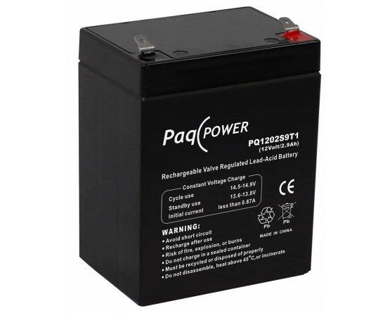 12V/2.9Ah PaqPOWER Blybatteri 5 års T1 terminal