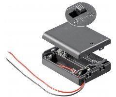 Batteriholder 3xAA med ledning, vandafvisende