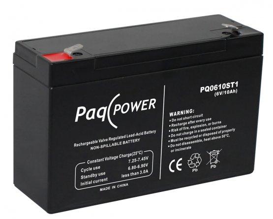 6V/10Ah PaqPOWER Blybatteri 5 års T1 terminal