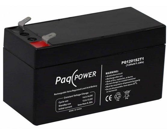 12V/1.2Ah PaqPOWER Blybatteri 5 års T1 terminal
