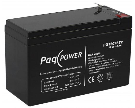12V/7Ah PaqPOWER Blybatteri 5 års T2 terminal