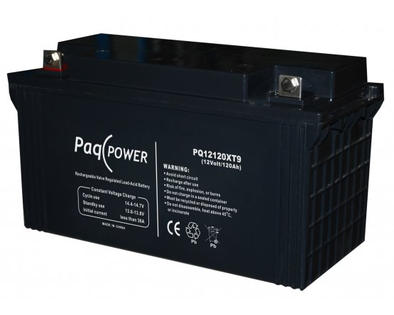 12V/120Ah PaqPOWER Blybatteri 10 års T9 terminal