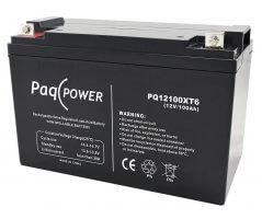 12V/100Ah PaqPOWER Blybatteri 10 års T6 terminal