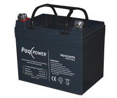 12V/33Ah PaqPOWER Blybatteri 10 års T8 terminal