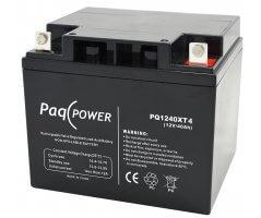 12V/40Ah PaqPOWER Blybatteri 10 års T4 terminal