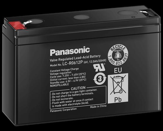 6V/12Ah Panasonic 6-9 års Blybatteri Faston 250