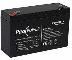 6V/12Ah PaqPOWER Blybatteri 5 års T1 terminal