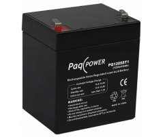 12V/5Ah PaqPOWER Blybatteri 5 års T1 terminal