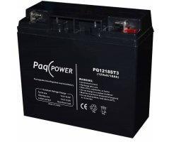 12V/18Ah PaqPOWER Blybatteri 5 års T3 terminal
