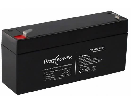 6V/3.2Ah PaqPOWER Blybatteri 5 års T1 terminal