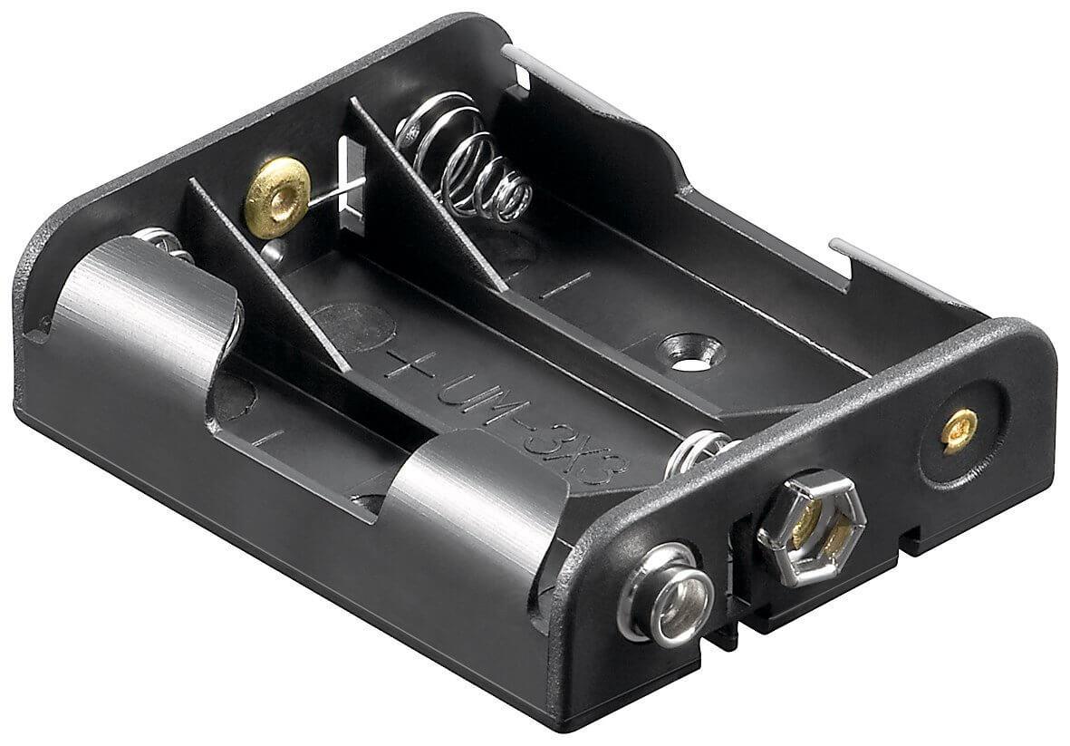 Batteriholder 3xAA med snap terminal