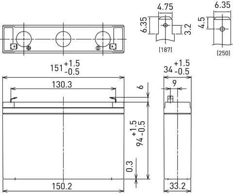 6V/7.2Ah Panasonic 6-9 års Blybatteri Faston 187