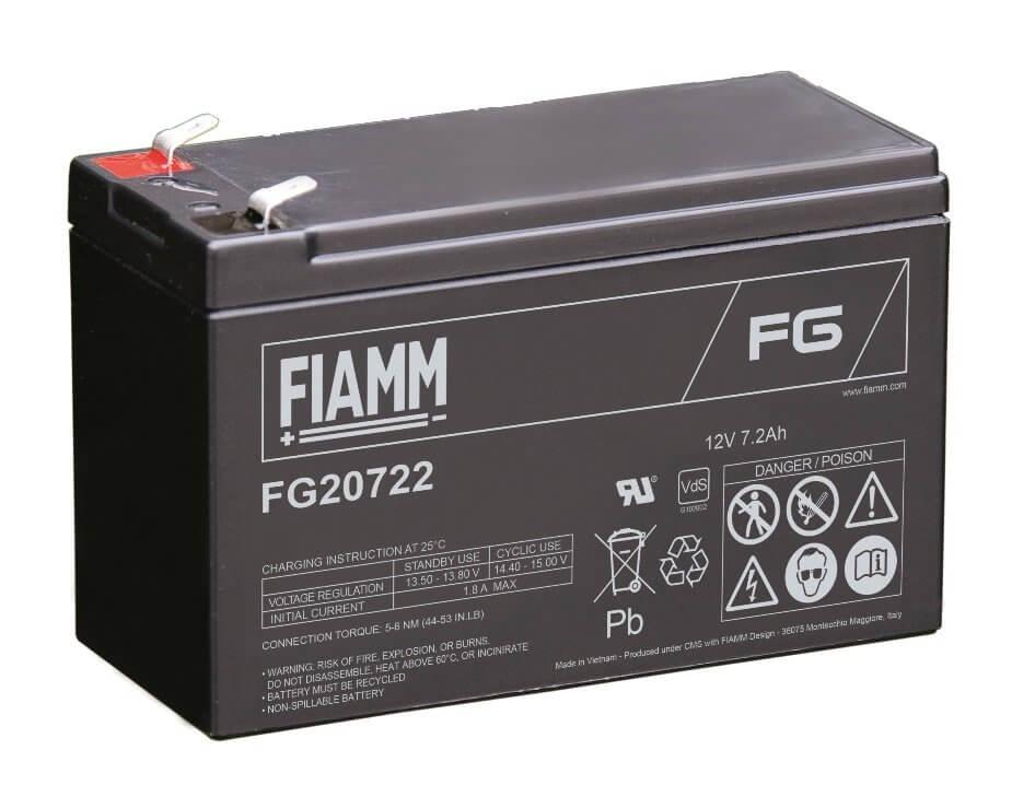 12V/7.2Ah FIAMM 5 års Blybatteri FG20722