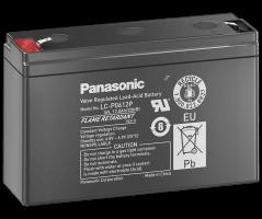 6V/12Ah Panasonic 10-12 års blybatteri Faston 187