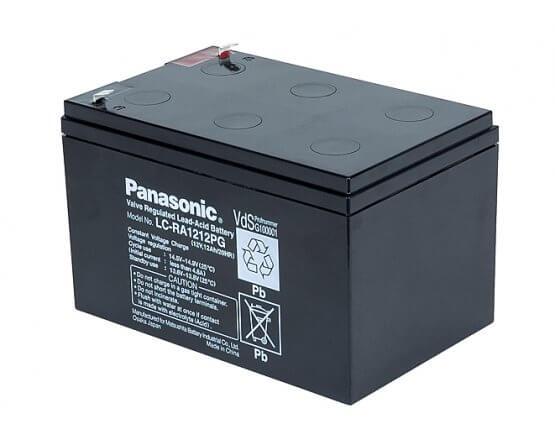 12V/12Ah Panasonic 6-9 års Blybatteri Faston 187