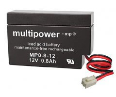 12V/0,8Ah Blybatteri Multipower MP0,8-12 JST