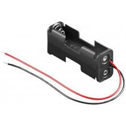 Batteriholder 2xAA m. ledning 57 x 17 x 14 mm