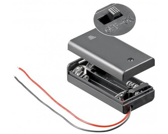 Batteriholder 2xAA med ledning, vandafvisende