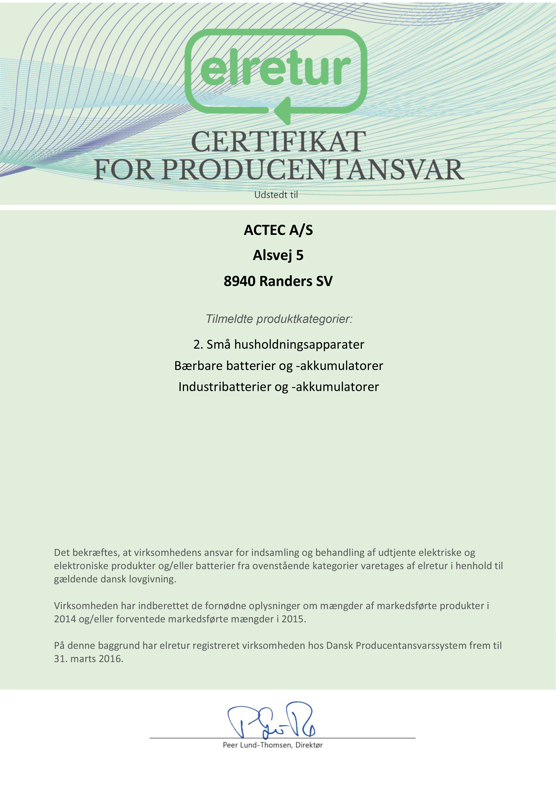 Certifikat El-retur ACTEC 2015-2016