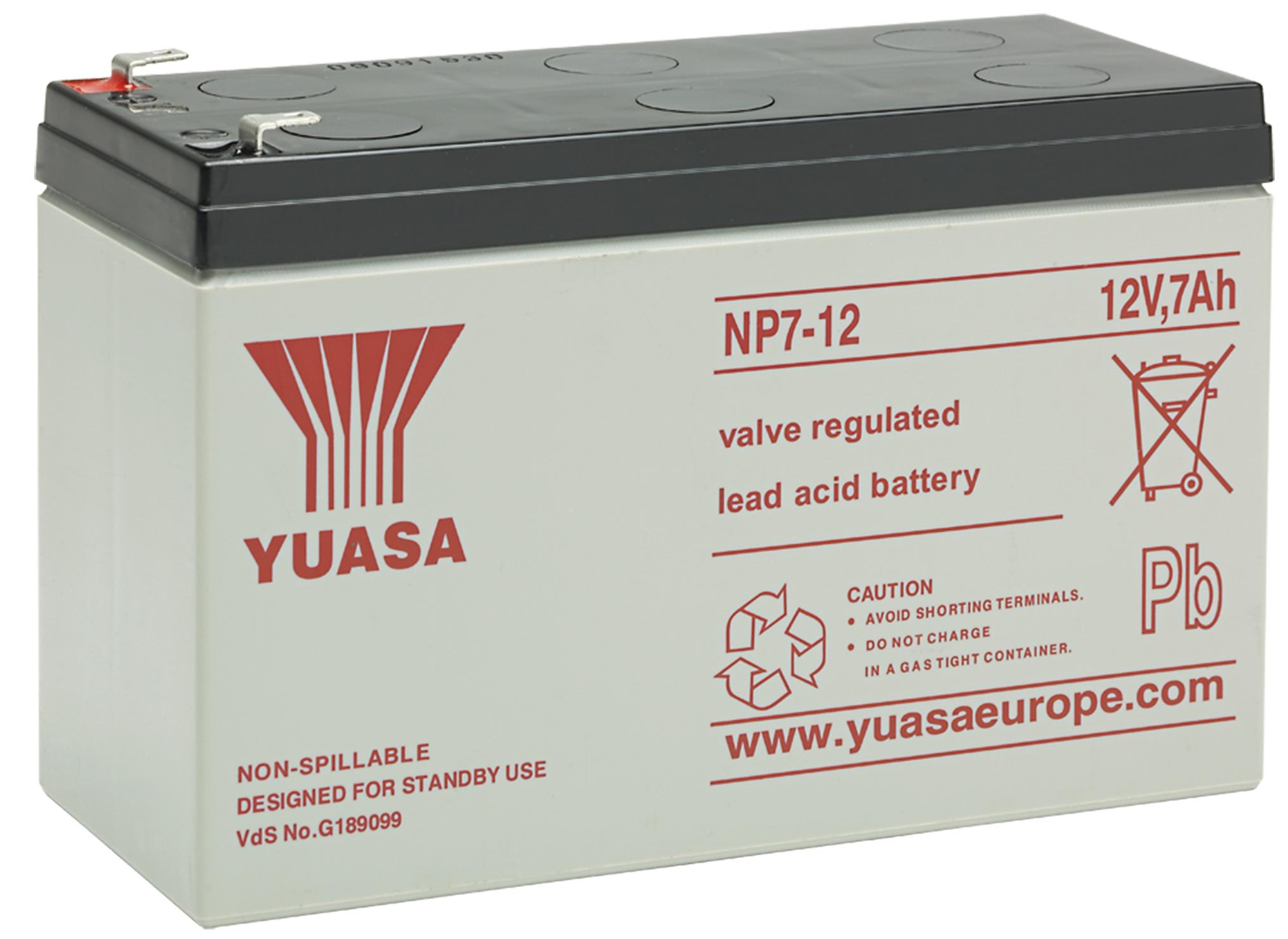 12V/7Ah Yuasa Blybatteri NP7-12