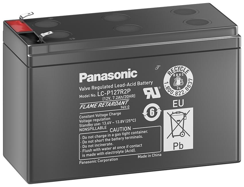 12V/7.2Ah Panasonic 6-9 års Blybatteri Faston 187